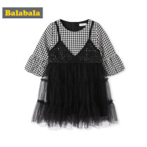 Dress White and black 0419 female Bala 90cm 100cm 110cm 120cm 130cm Cotton 100% spring and autumn Korean version Long sleeves lattice other Splicing style other Autumn of 2019 They were 2 years old, 3 years old, 4 years old, 5 years old, 6 years old and 7 years old Chinese Mainland