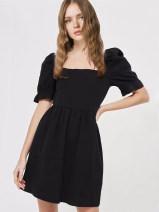 Dress Summer of 2018 black S,M,L Short skirt singleton  Short sleeve street square neck Elastic waist Solid color Socket puff sleeve pixiemarket Splicing Europe and America