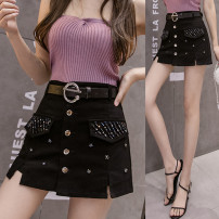 skirt Summer 2020 S,M,L,XL,2XL black Short skirt commute High waist skirt Solid color Type A 18-24 years old 71% (inclusive) - 80% (inclusive) other cotton Sequins, pockets, buttons, stitching, tridimensional decoration, rivets, beads Korean version