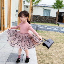 Dress Black, apricot, pink female Little Huanglong 80cm,90cm,100cm,110cm,120cm,130cm Other 100% spring and autumn princess Long sleeves other cotton Splicing style Class B 2 years old, 3 years old, 4 years old, 5 years old, 6 years old Chinese Mainland