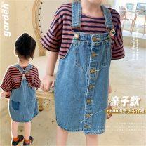 Dress blue female Little Huanglong Other 100% summer fresh Skirt / vest Solid color cotton Denim skirt Class B 12 months, 18 months, 2 years old, 3 years old, 4 years old, 5 years old, 6 years old Chinese Mainland Guangdong Province Foshan City