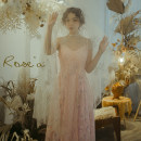 Dress Spring 2021 Pink, second batch S,M,L,XL Mid length dress singleton  Sleeveless commute V-neck middle-waisted Solid color Socket Big swing other camisole 25-29 years old Type X Huajian clothes lady Bowknot, flounce, hollow, Gouhua, hollow, lace, stitching, thread, button, mesh, zipper, lace