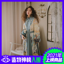 Dress Spring 2021 S,M,L Mid length dress singleton  Long sleeves commute stand collar Loose waist Solid color Socket other bishop sleeve Others 25-29 years old Type H Huajian clothes court More than 95% other polyester fiber