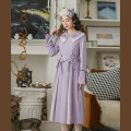 Dress Spring 2021 Taro purple (belt) S,M,L Mid length dress singleton  Long sleeves commute Doll Collar Loose waist Solid color Socket Princess Dress shirt sleeve Others 25-29 years old Type X Huajian clothes literature LT3221 31% (inclusive) - 50% (inclusive) Lace polyester fiber