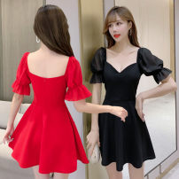 Dress Summer 2020 White, black, red S,M,L,XL Short skirt singleton  Short sleeve commute stand collar Solid color Big swing puff sleeve Others 18-24 years old Type A Korean version