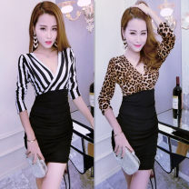 Dress Spring 2021 Red, black and white, leopard S (recommendation 80-92), m (recommendation 93-104), l (recommendation 105-115), XL (recommendation 116-128), 2XL (recommendation 128-140) Short skirt singleton  Long sleeves commute V-neck middle-waisted stripe Socket One pace skirt routine Others