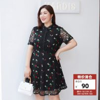 Women's large Summer 2021 black Dress singleton  commute Self cultivation moderate Socket Short sleeve Solid color, plant and flower Korean version nylon Three dimensional cutting Delicate and beautiful 25-29 years old 96% and above