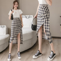 skirt Summer 2021 S,M,L,XL black Mid length dress Versatile High waist Irregular lattice Type A 18-24 years old cotton Pleating, asymmetry, zipper 401g / m ^ 2 (inclusive) - 500g / m ^ 2 (inclusive)