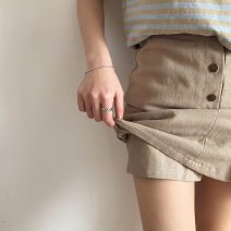 skirt Summer of 2018 S M L Apricot army green longuette A-line skirt Solid color 18-24 years old Q57174 71% (inclusive) - 80% (inclusive) other cotton Splicing