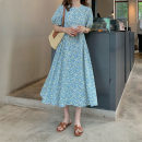 Dress Summer 2021 Picture color Average size Mid length dress singleton  Short sleeve commute Crew neck High waist Solid color Socket A-line skirt puff sleeve Others 18-24 years old Type A Korean version fold 51% (inclusive) - 70% (inclusive) cotton