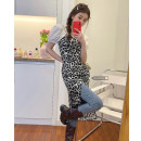 Dress Summer 2021 Leopard drawstring dress S, M Mid length dress singleton  Sleeveless commute High waist routine camisole 18-24 years old Korean version 51% (inclusive) - 70% (inclusive) polyester fiber