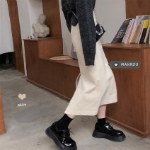 skirt Winter 2020 S,M,L Apricot, black Mid length dress commute High waist A-line skirt Solid color Type A 18-24 years old 51% (inclusive) - 70% (inclusive) other Other / other other Korean version