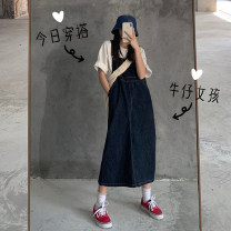 Dress Summer 2020 Dark blue, dark blue S,M,L Mid length dress singleton  Sleeveless commute Loose waist Solid color Socket routine Others 18-24 years old Korean version 51% (inclusive) - 70% (inclusive)