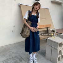 Dress Spring 2021 White T-shirt, egg yellow T-shirt, blue denim strap skirt, black denim strap skirt Average size Mid length dress Two piece set Sleeveless commute High waist Socket A-line skirt routine 18-24 years old Korean version 51% (inclusive) - 70% (inclusive)