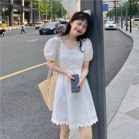 Dress Summer 2021 White, black S, M Short skirt singleton  Short sleeve commute V-neck High waist Solid color Socket A-line skirt puff sleeve Others 18-24 years old Type A Korean version Splicing 51% (inclusive) - 70% (inclusive)