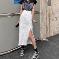 skirt Summer 2021 S,M,L,XL White, blue Mid length dress commute High waist skirt Type A 18-24 years old 51% (inclusive) - 70% (inclusive) Denim cotton Korean version