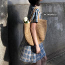 Dress Spring 2021 Picture color M, L Short skirt singleton  Short sleeve commute square neck High waist lattice Socket A-line skirt puff sleeve Others 18-24 years old Type A Korean version Splicing 51% (inclusive) - 70% (inclusive)
