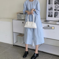 Dress Summer 2021 White, blue Average size Mid length dress singleton  Long sleeves commute Crew neck High waist Solid color Socket A-line skirt routine Others 18-24 years old Type A Korean version 51% (inclusive) - 70% (inclusive) other cotton