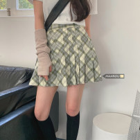 skirt Autumn 2021 S,M,L Green, coffee Short skirt Versatile High waist Pleated skirt lattice Type A 18-24 years old 51% (inclusive) - 70% (inclusive) brocade Other / other polyester fiber zipper 401g / m ^ 2 (inclusive) - 500g / m ^ 2 (inclusive)