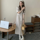 Dress Summer 2021 Apricot, Navy Average size longuette singleton  Short sleeve commute Crew neck High waist Solid color Socket A-line skirt routine 18-24 years old Type A Korean version 51% (inclusive) - 70% (inclusive) cotton