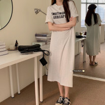 Dress Summer 2021 Grey, green, black Average size Mid length dress singleton  Short sleeve commute Crew neck Loose waist Solid color routine 18-24 years old Korean version 51% (inclusive) - 70% (inclusive) other