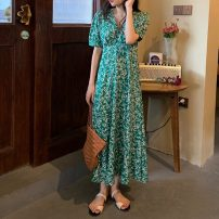 Dress Spring 2021 Picture color Average size Mid length dress singleton  Short sleeve commute V-neck High waist Decor Socket A-line skirt bishop sleeve Others 18-24 years old Type A Korean version 51% (inclusive) - 70% (inclusive)