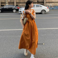 Dress Summer 2021 Orange dress, rose dress, orange shirt, black shirt Average size Mid length dress singleton  Sleeveless commute High waist routine 18-24 years old Korean version 51% (inclusive) - 70% (inclusive)