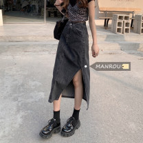 skirt Summer 2021 S,M,L,XL Blue, black and gray Mid length dress commute High waist skirt 18-24 years old 51% (inclusive) - 70% (inclusive) Korean version