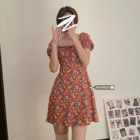 Dress Summer 2021 Oil painting floral skirt S,M,L Short skirt singleton  Short sleeve commute square neck A-line skirt puff sleeve 18-24 years old Korean version 51% (inclusive) - 70% (inclusive)