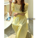 Dress Summer 2021 White, yellow, black Average size Mid length dress singleton  Short sleeve commute Crew neck High waist Solid color Socket A-line skirt routine 18-24 years old Type A Korean version backless 51% (inclusive) - 70% (inclusive) other cotton