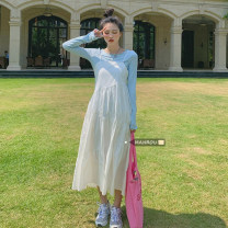 Dress Summer 2021 White, black Average size Mid length dress singleton  Short sleeve commute square neck High waist One pace skirt routine camisole 18-24 years old Korean version 51% (inclusive) - 70% (inclusive)