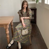 Dress Summer 2021 green Average size Mid length dress singleton  Short sleeve commute V-neck High waist Solid color Socket A-line skirt routine 18-24 years old Type A Korean version printing 51% (inclusive) - 70% (inclusive) cotton
