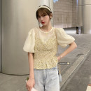 Dress Winter 2016 Average size Mid length dress Fake two pieces Short sleeve commute Crew neck High waist Broken flowers Socket A-line skirt puff sleeve Others 18-24 years old Type A Korean version Splicing 51% (inclusive) - 70% (inclusive) Chiffon