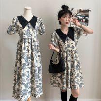 Dress Summer 2021 Short, long Average size Short skirt singleton  Short sleeve commute High waist puff sleeve 18-24 years old Korean version 51% (inclusive) - 70% (inclusive)