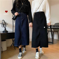 skirt Autumn 2020 S,M,L,XL Blue, black Mid length dress commute High waist A-line skirt Solid color Type A 18-24 years old 51% (inclusive) - 70% (inclusive) other Other / other other Korean version