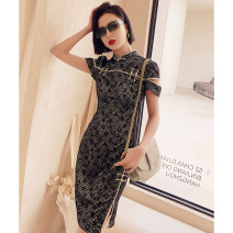 cheongsam Summer 2021 S M L XL Luji Short sleeve Short cheongsam Retro Low slit daily Round lapel other 18-25 years old Piping YC-2355 Love clothes polyester fiber Polyester 100% Pure e-commerce (online only)