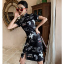 cheongsam Spring 2021 S M L XL XXL hibiscus Short sleeve Short cheongsam Retro Low slit daily Oblique lapel Animal design 18-25 years old Piping YHH-2306 Love clothes polyester fiber Polyester 100% Exclusive payment of tmall