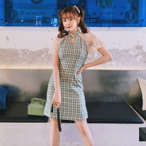 cheongsam Spring 2021 S M L XL Sea salt milk covered tea Short sleeve Short cheongsam grace Low slit daily Round lapel lattice 18-25 years old Piping YC-2024 Love clothes polyester fiber Polyethylene terephthalate (polyester) 88% polyurethane elastic fiber (spandex) 12%