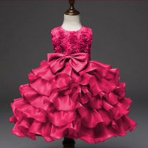 Children's dress Rose red, pink, white, yellow, red, blue, dark blue, purple female 70, 80, 90, 100, 110, 120, 130, 140, 150 Other / other full dress polyester Europe and America