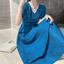Dress Summer 2021 Blue, Khaki S,M,L,XL longuette singleton  Short sleeve commute V-neck High waist Solid color Socket A-line skirt puff sleeve Type X Other / other Retro Three dimensional decoration, nail beads More than 95%