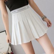 skirt Summer 2021 S,M,L,XL White, black Short skirt commute High waist Pleated skirt Type A 18-24 years old 4 15 Other / other Korean version