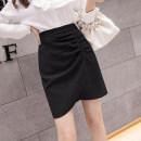 skirt Summer 2021 S,M,L,XL Green, black Short skirt commute High waist A-line skirt Type A 25-29 years old N2 24 Ol style