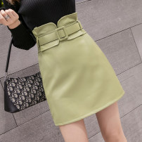 skirt Autumn 2021 S,M,L,XL Apricot, green, Burgundy, black Short skirt commute High waist A-line skirt Solid color Type A 25-29 years old 9 11 2 Other / other PU Korean version