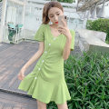 Dress Summer 2021 Black, Avocado Green, orange S,M,L,XL Short skirt singleton  Short sleeve commute V-neck middle-waisted Solid color Single breasted A-line skirt routine Others 18-24 years old Type A Other / other Korean version N1 16 51% (inclusive) - 70% (inclusive) brocade cotton