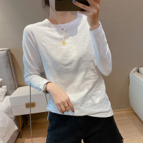 T-shirt White, black, pink S,M,L,XL,2XL,3XL Spring 2021 Long sleeves Crew neck easy Regular raglan sleeve commute cotton 96% and above 18-24 years old Korean version youth Solid color N1 20 Splicing