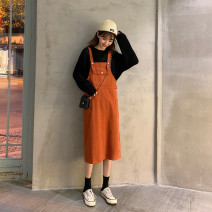 Dress Spring 2021 Army green, brick red S,M,L,XL Mid length dress singleton  commute Loose waist camisole 18-24 years old Type A Other / other Korean version 10 21 4