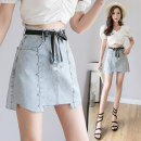 skirt Spring 2021 S,M,L,XL,2XL Picture color Short skirt commute High waist A-line skirt Solid color Type A 18-24 years old Korean version