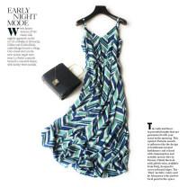 Dress Spring of 2018 green S,M,L,XL longuette singleton  Sweet V-neck High waist stripe Big swing camisole Bohemia