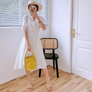 Dress Summer 2021 white S,M,L,XL,2XL Mid length dress elbow sleeve commute V-neck High waist Solid color Socket A-line skirt other Others Type A Korean version Button More than 95% Chiffon other