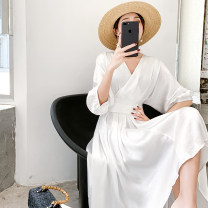 Dress Summer 2020 Pearl White S,M,L Mid length dress singleton  elbow sleeve commute V-neck High waist Solid color Socket other other Others Type A Korean version More than 95% Silk and satin other